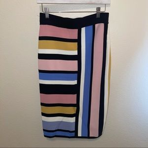 New York & Co. Striped Fitted Knit Midi Skirt Sm